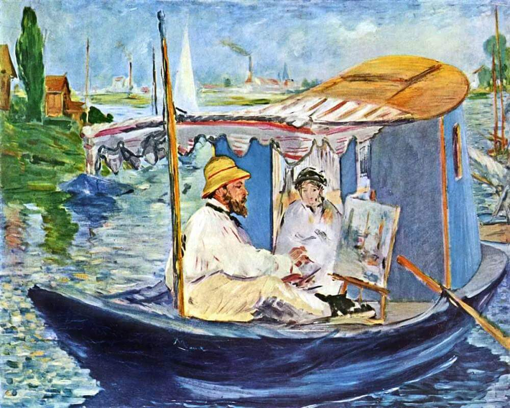 monet painting in his studio boat 1874 by edouard manet. Black Bedroom Furniture Sets. Home Design Ideas