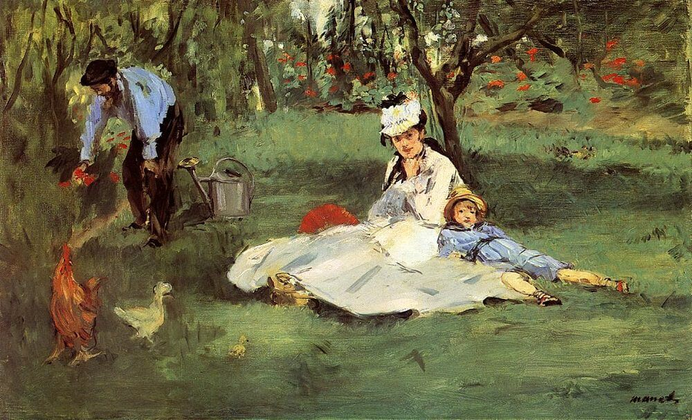 The Monet Family in Their Garden at Argenteuil, 1874 by Edouard Manet